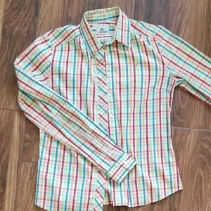 Lacoste Slim Fit Stretch Plaid Shirt sz 36 small